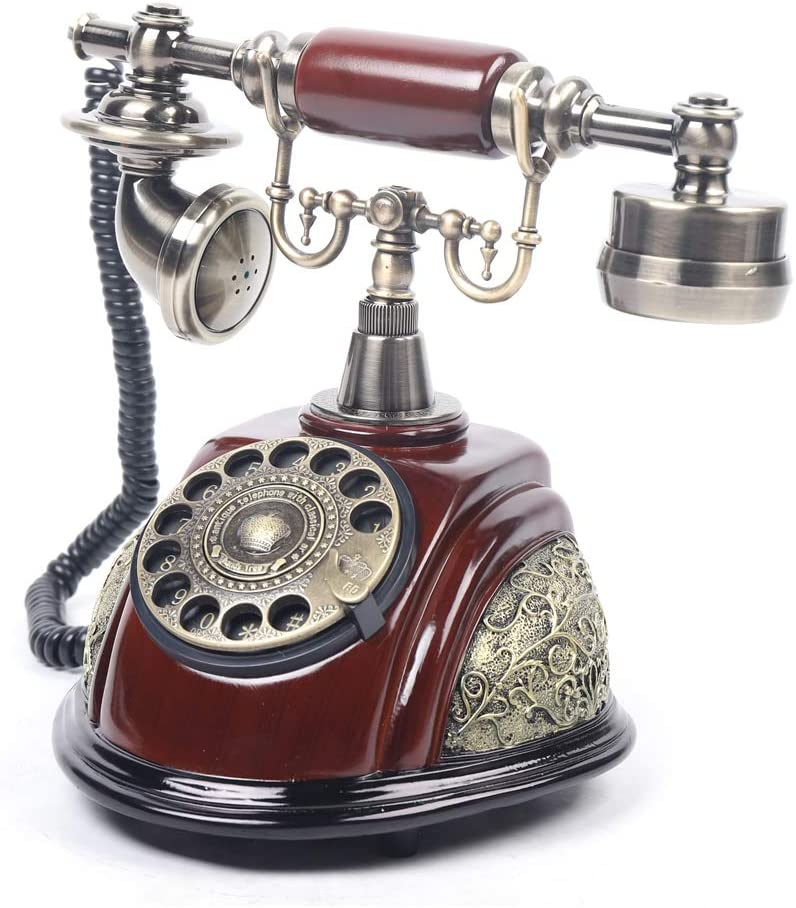 Antique Telephone Old Fashion Landline Telephone Rotary Corded Retro Phone Hanging Handset Ceramic Antique Style Wired Home Hotel Office Telephone Decorative System USA Stock