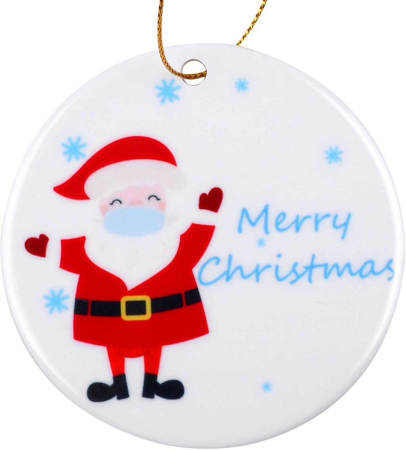 Elcoho Christmas Ceramic Ornaments Cute Santa Claus Wearing Mouth-Muffle Novel Christmas Tree Decoration Christmas Ornaments for Gifts and Home Decorations