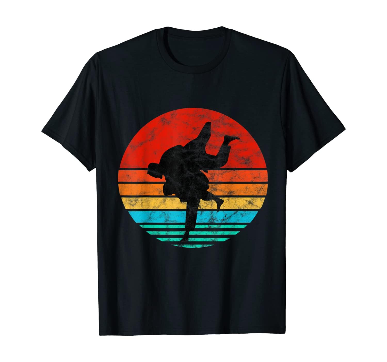 Retro Vintage Sunset Silhouette Jiu Jitsu Gift T-Shirt T-Shirt
