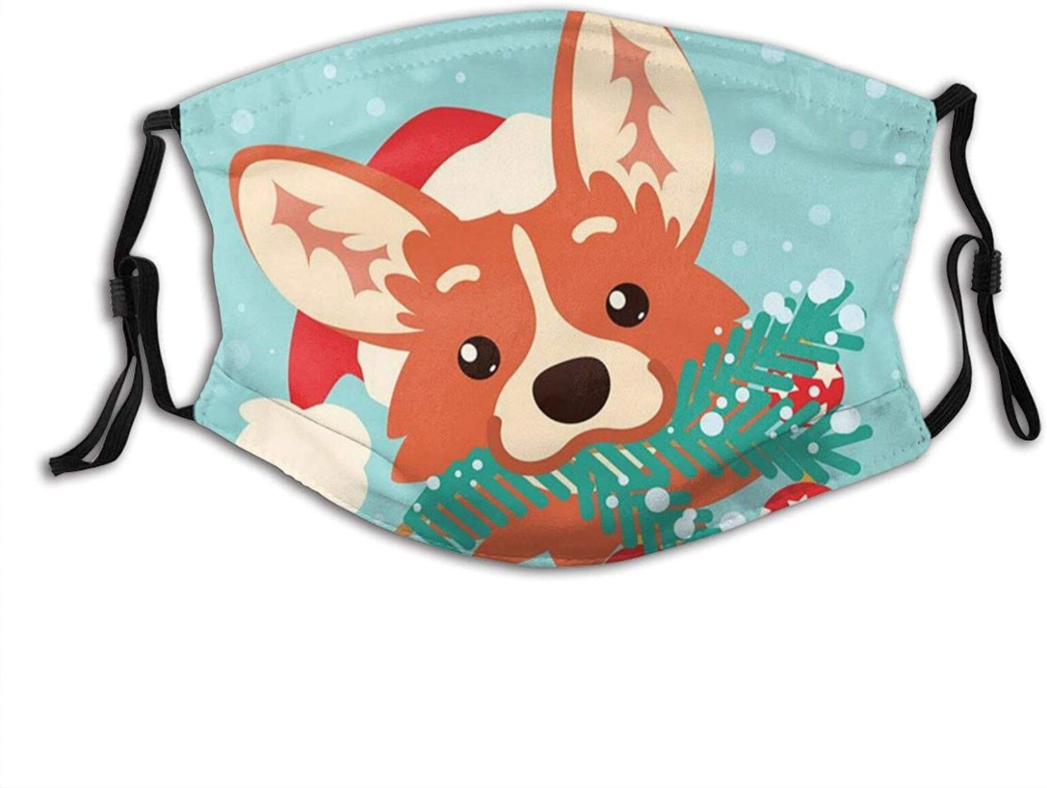 Cute Corgi Dog Wear A Christmas Hat And Bite The Grass Roots Adjustable Face Mask With Filter Pocket Washable Reusable Face Bandanas Balaclava With 2 Pcs Filters