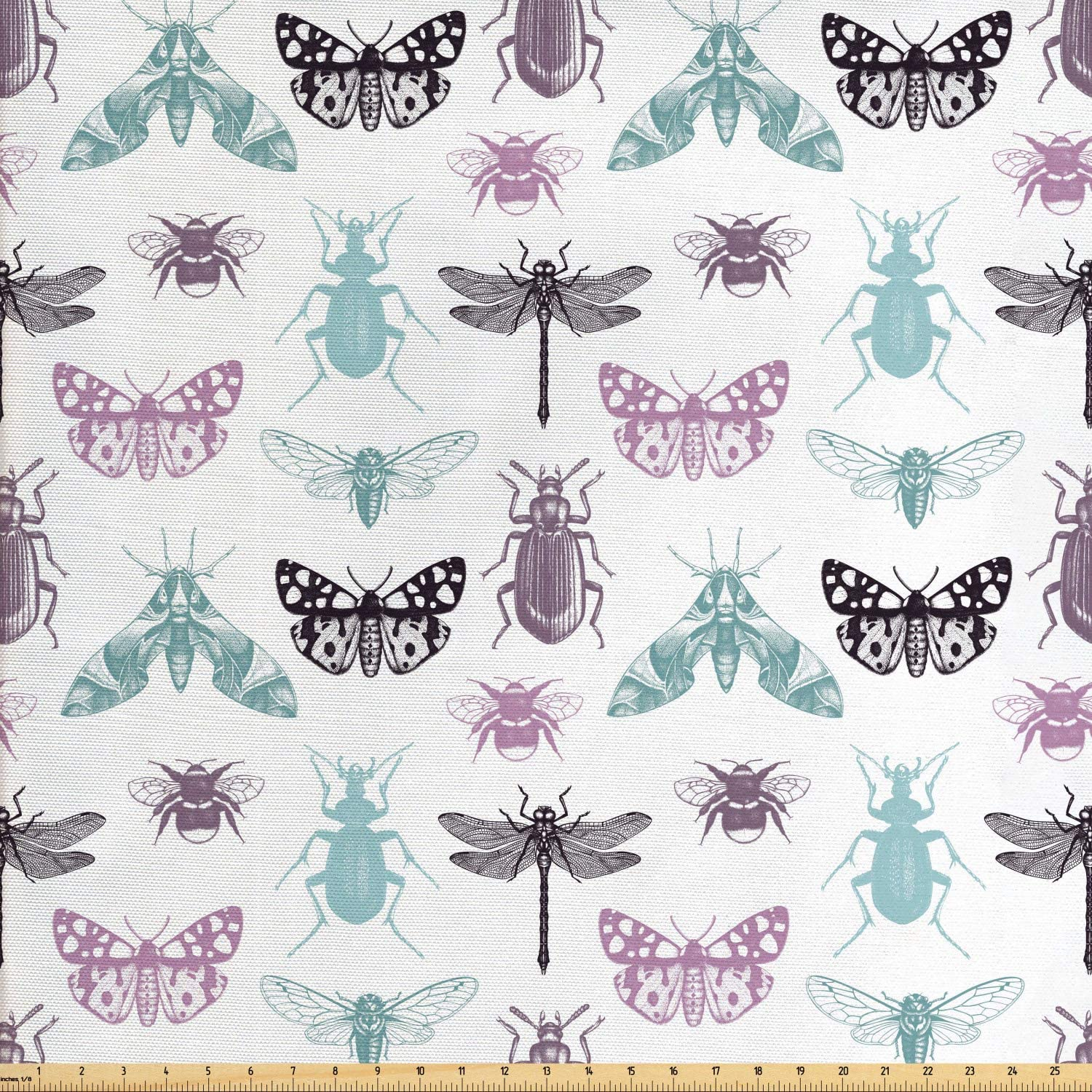 Ambesonne Dragonfly Fabric by The Yard, Vintage Hand Drawn Sketch of Insects Cold Toned Colorful Pattern Art, Decorative Fabric for Upholstery and Home Accents, 1 Yard, White and Multicolor