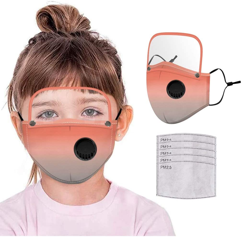 Gerichy Masks for Kids with Filters, 1PC Pack+ 5PC Filters Childrens Mask Reusable Washable Face Bandanas with Breathable Valva and Detachable Eye Shield for Students Back to School