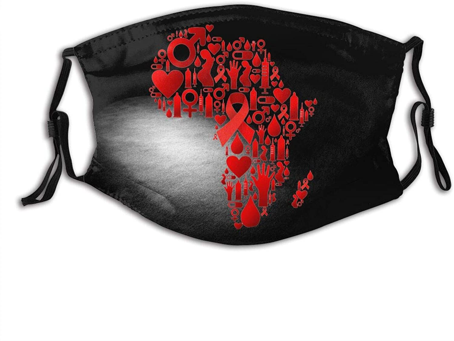 Red Ribbon HIV Awareness Print Washable Face Mask Bandana Balaclava with 2 Filter for Women Men Outdoor
