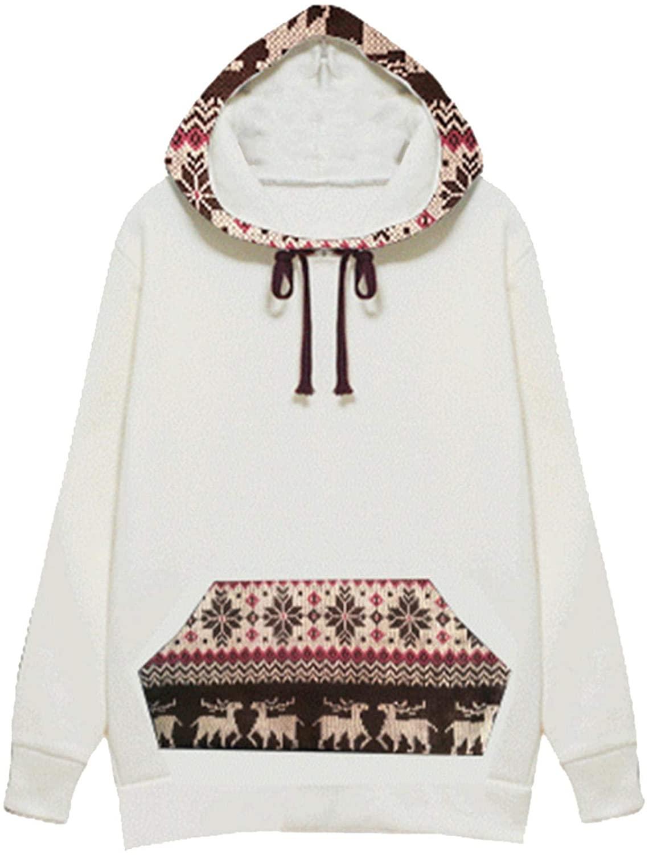 YAnGSale Tops Christmas Elk Hoodies Casual Hooded Sweater Velvet Padded Hooded Sweatshirt Plus Fleece Blouse Warm Pullover