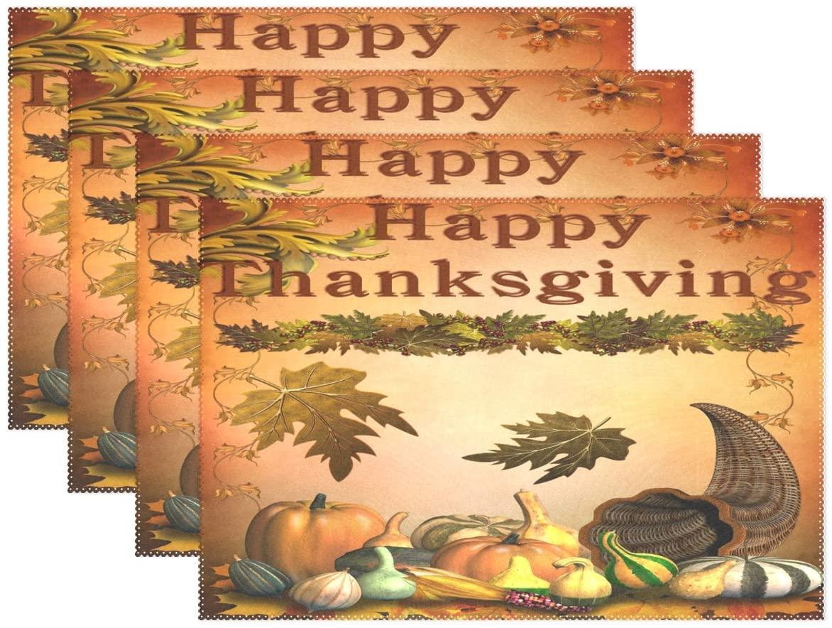 WOZO Happy Thanksgiving Pumpkin Fall Placemat Table Mat 12