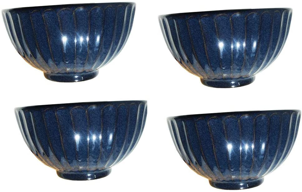 Set of 4 - Blue Stoneware Asian Chinese Japanese Round Porcelain Ceramic Rice Soup Bowl for Tapas Appetizers Dessert Snack Nuts Candy 4.75