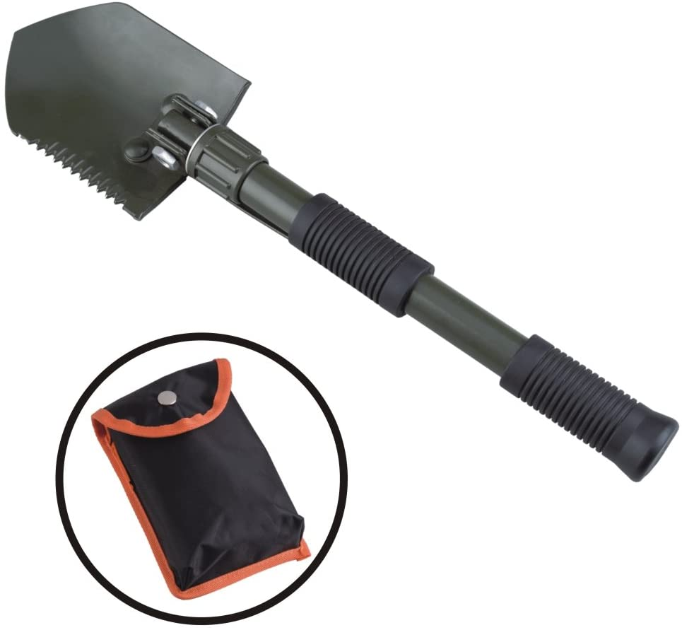AceCamp Aluminum Collapsible Utility Shovel, Pick Axe and Saw, Lightweight Portable Folding Shovel for Outdoor Camping in Winter and Snow with Carrying Case - 16 In