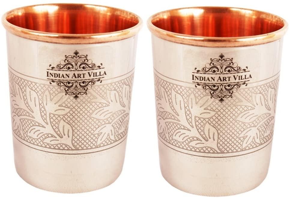 Indian Art Villa Steel Copper Glass Cup Tumbler Set, Serveware & Drinkware, Home Restaurant, 8 OZ Each, 2 Pieces