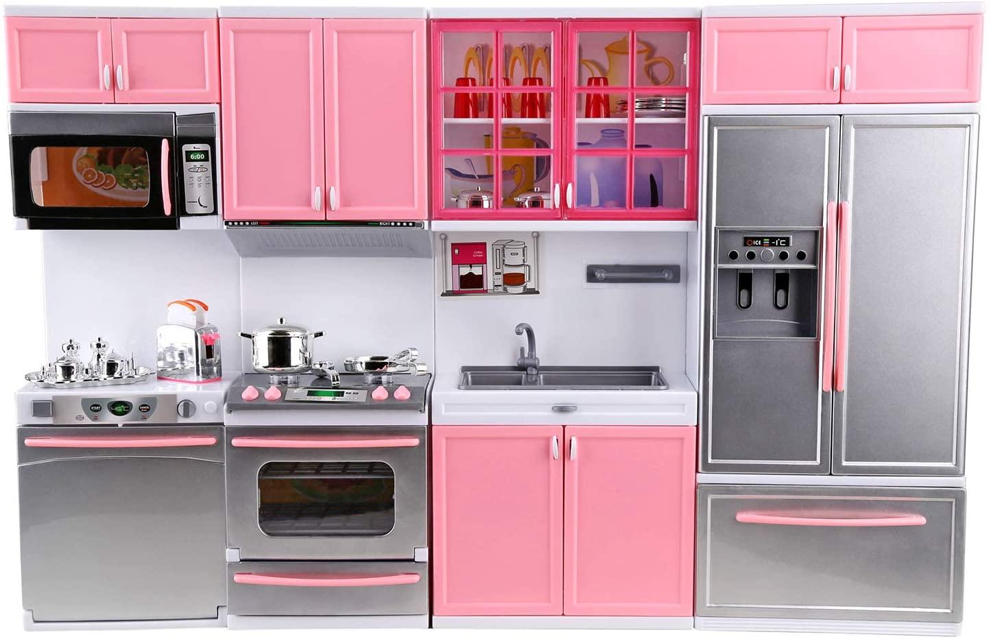 Urban Kit Deluxe Modern Kitchen Playset | Battery Operated Toy Kitchen | Mini Kitchen playset | Dollhouse Kitchen Furniture | Battery Kitchen | Deluxe Kitchen Pink