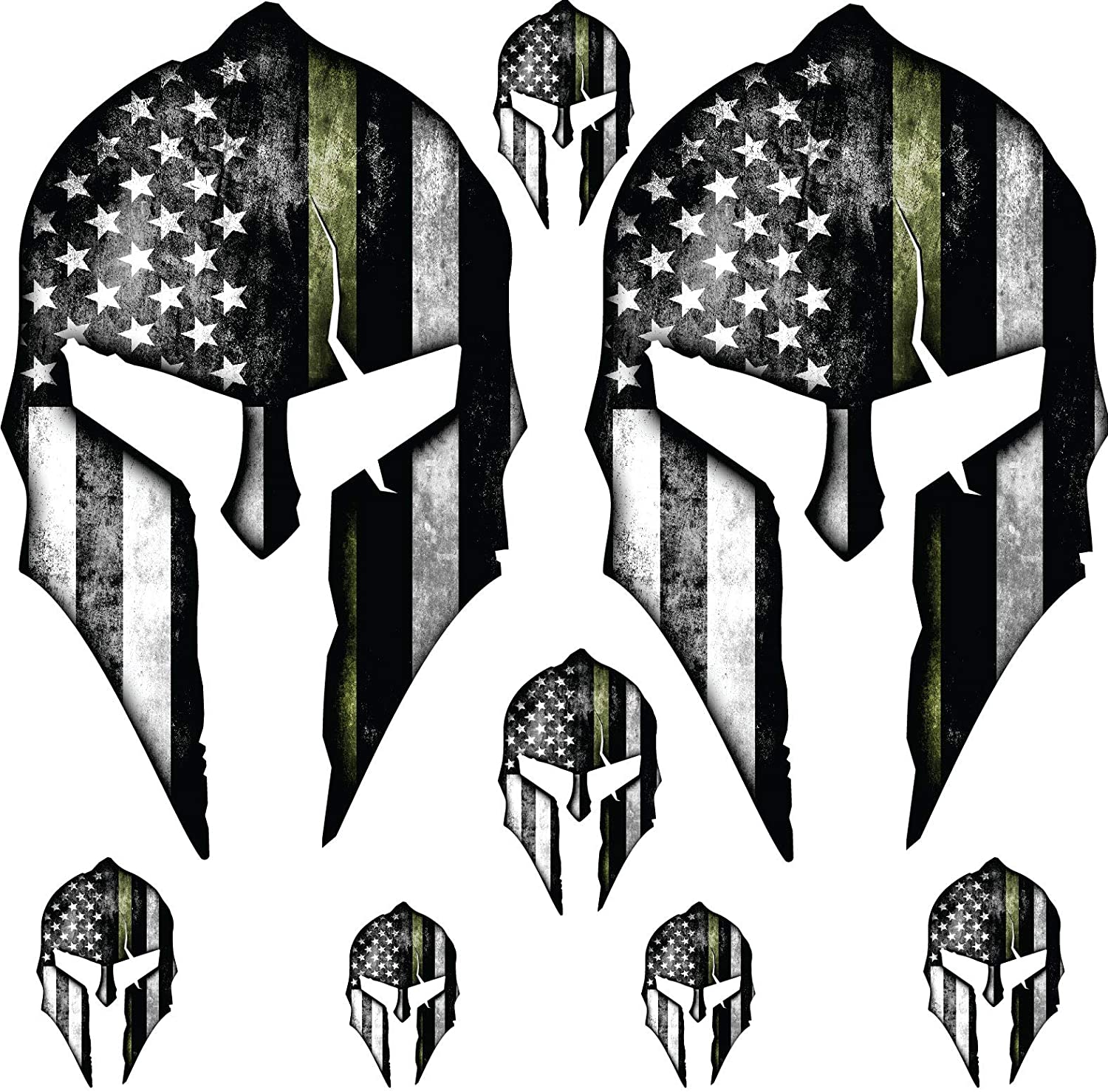 Spartan Helmet - Moan ABBE - Grunge Tactical Decal Set - 6mil - Laminated - UV Protected - (XLarge, Military)