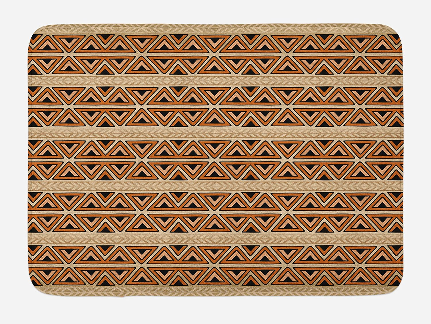 Ambesonne African Bath Mat, Abstract Art Style Inspired Geometric Pattern with Triangles Art, Plush Bathroom Decor Mat with Non Slip Backing, 29.5