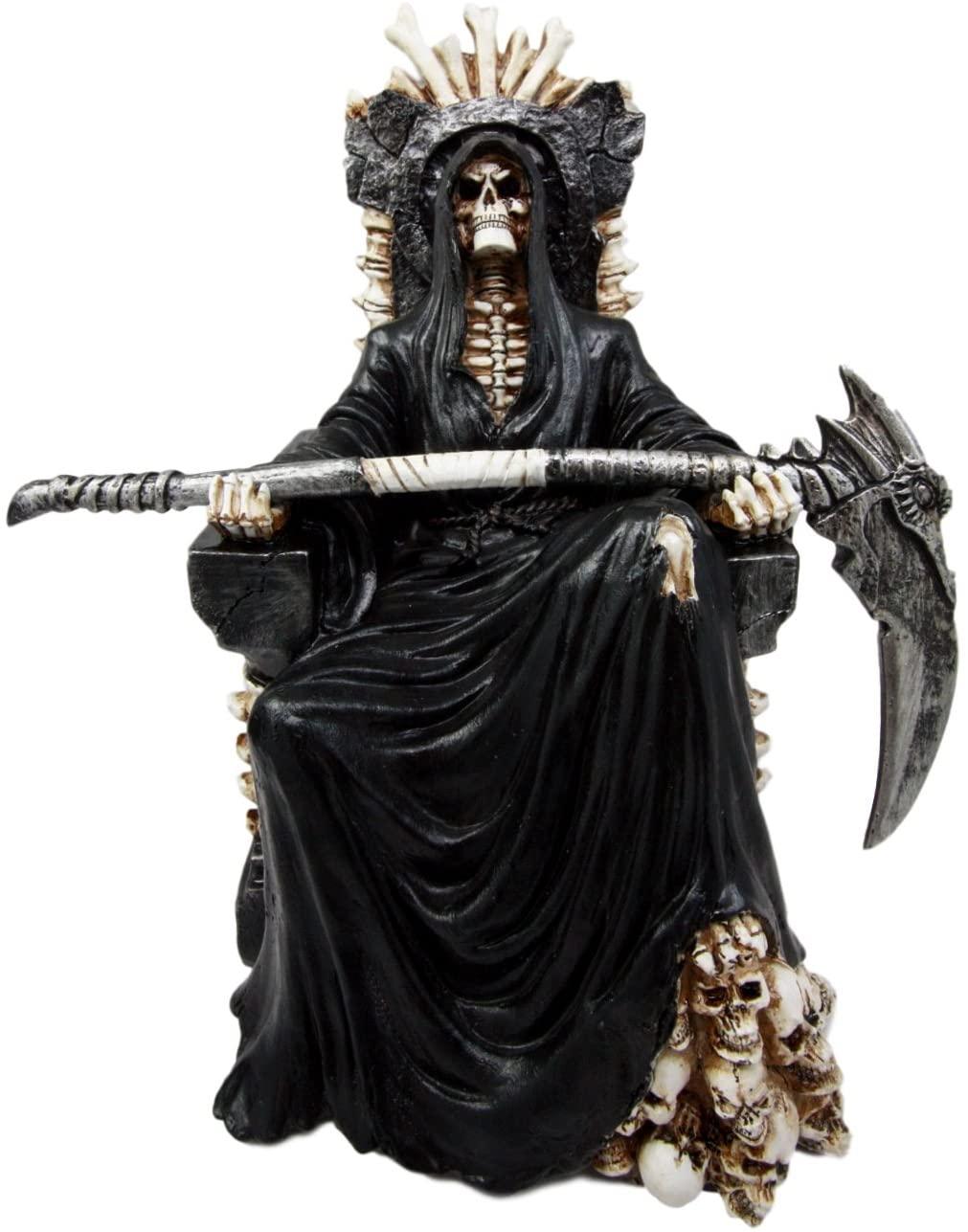 Ebros Gift Black Holy Death Grim Reaper Sitting On Skeleton Throne Figurine 10.5