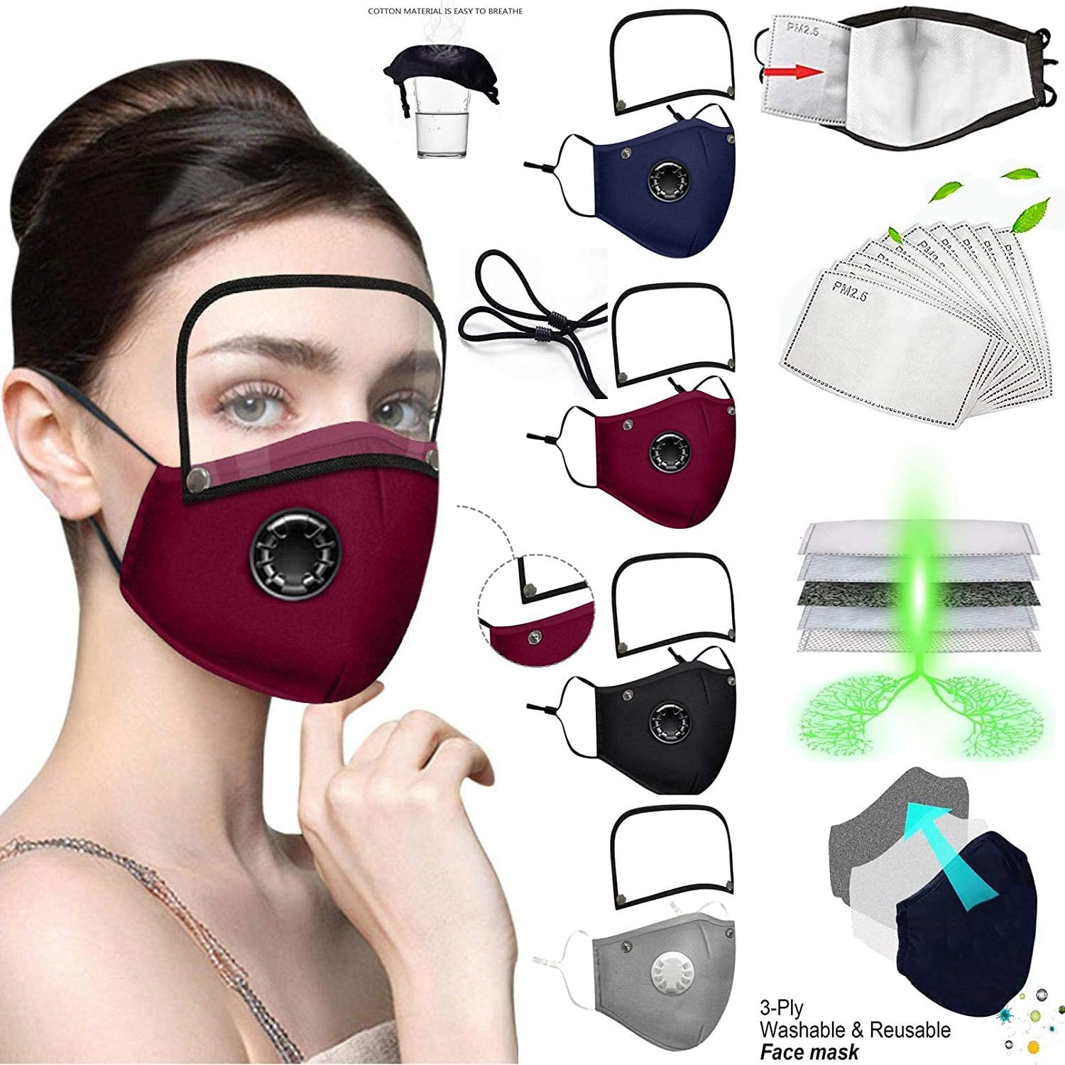 4Pcs Reusable Face Protection Shield with Breathing Valve with 8Pcs Activated Carbon Filter with Detachable Eyes Shield,Washable Breathable Cotton Fabric,Adiustable Face Bandanas for Adults