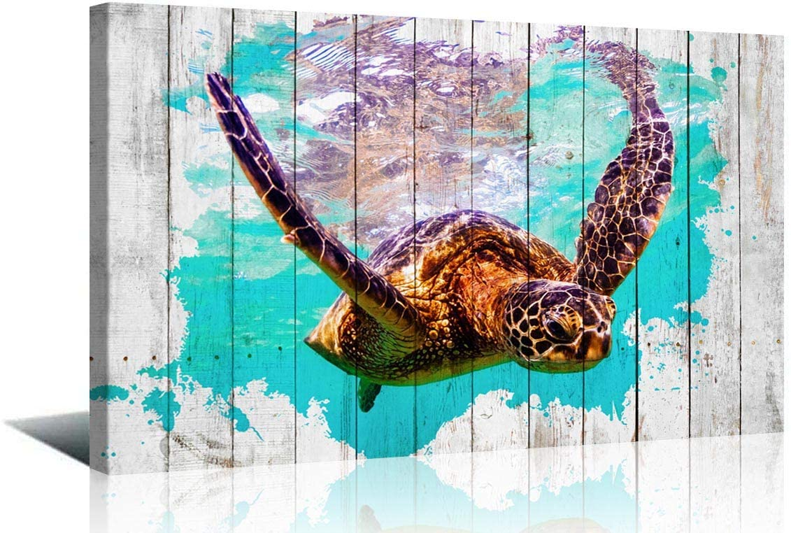 ArtHome520 Turquoise Home Decor Sea Turtle Picture for Bathroom Decorations Seascape Theme Wall Art Living Room Canvas Print Artwork Modern Framed Panel (20x30)