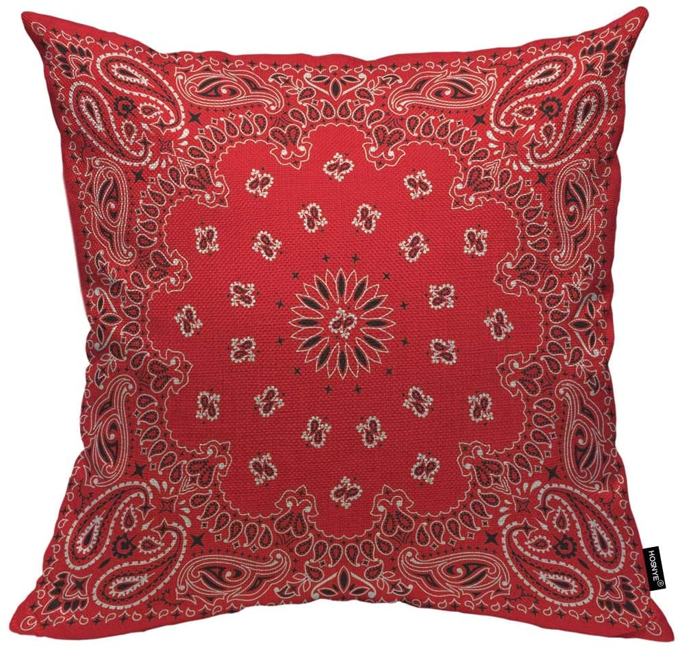 HOSNYE Western Paisley Throw Pillow Case Bandana Seamless Pattern with Red and White Ornaments Pillow Cushion Cover Waist Home Decorations 18 x 18 inch