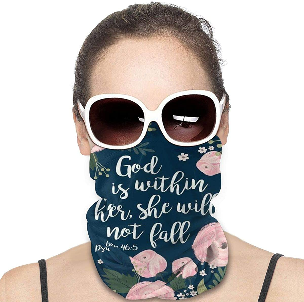 NOT Bible Verses God is Within Her She Will Fall Psalm 465 Unisex Multifunctional Seamless Bandana Face Mask Neck Gaiter Headwear Tube Mask Scarf Black