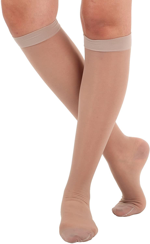 Sheer Compression Socks, Knee High, Firm Support 20-30mmHg, (Medium, Nude)
