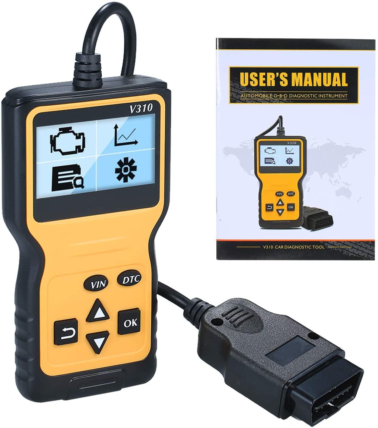 VISLONE V310 OBD2 Scanner, Car Engine Fault Code Reader OBD II Diagnostic Scan Tool, Yellow+Black