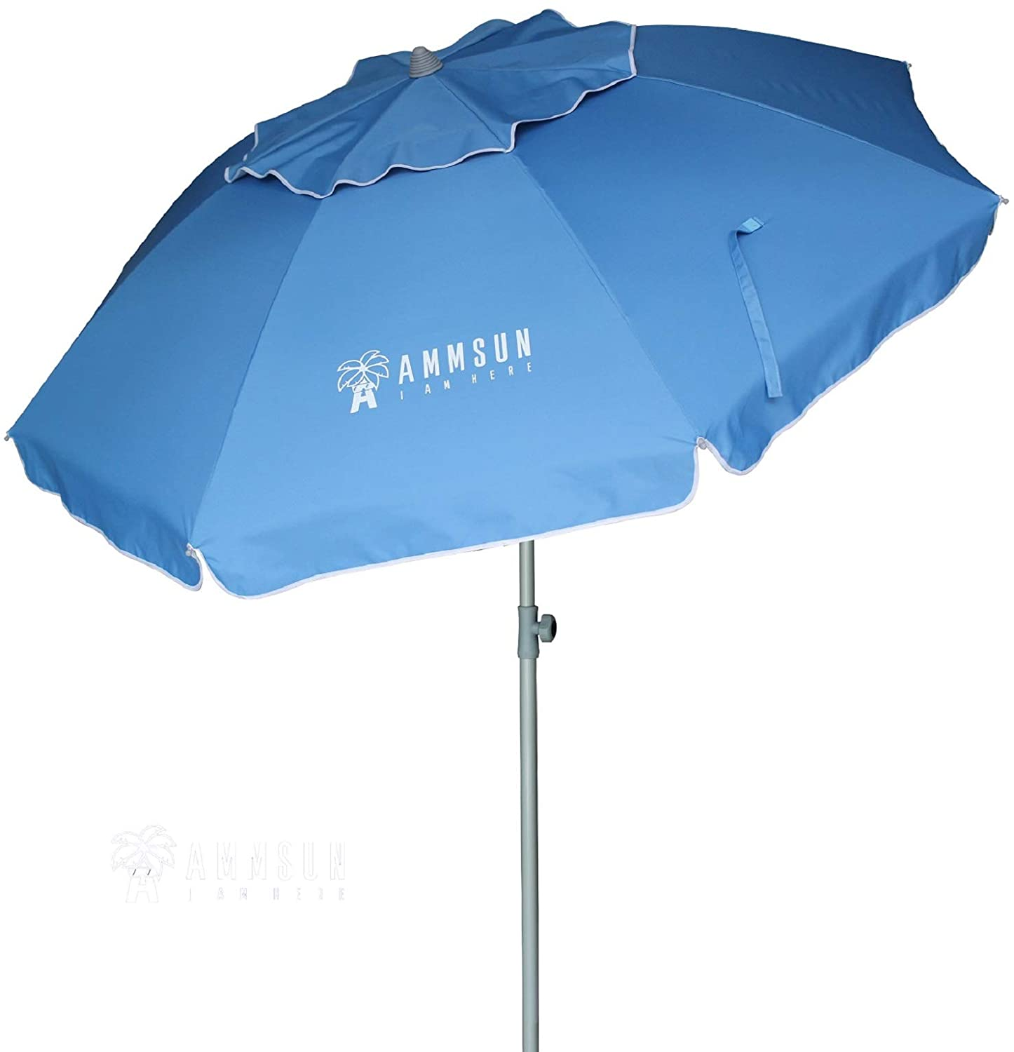 AMMSUN 6.5ft Patio Outdoor Umbrella with Push Button Tilt and Removable Fork Anchor, UPF 50+, Ideal Umbrella for Garden, Backyard and Outdoor Activities, Portable Easy Carry Bag Included (Sky Blue)