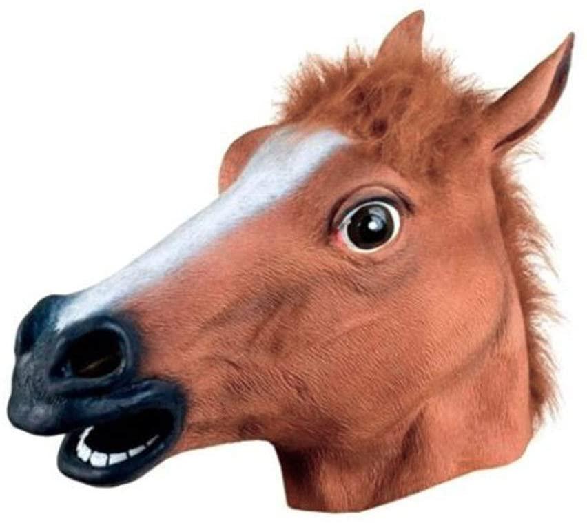 shudaonan Luxury Novelty Halloween Costume Party Latex Animal Head Mask-Brown Horse/Black Horse (Brown)