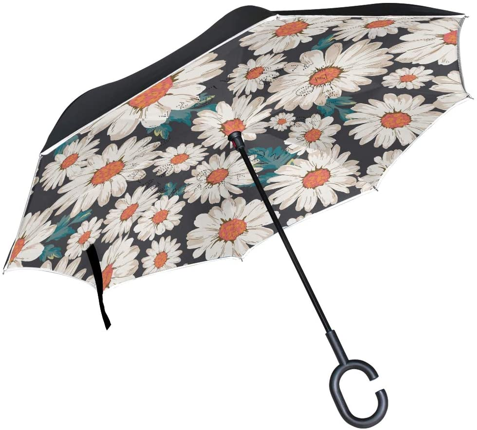 senya Inverted Umbrellas Daisy Flower Double Layer Folding Umbrella Windproof Anti-UV Windproof Travel Umbrella for Women and Men