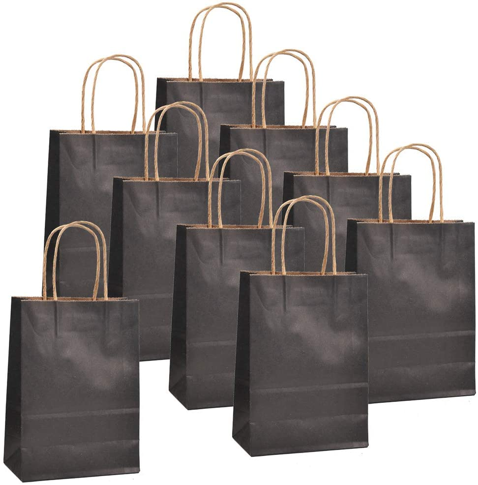 OFNMY 50-Pack Kraft Paper Bags, Mini Kraft Handle Bags, Small Paper Gift Bags with Handle Party Favor Bags, 6 x 3.15 x 8.26 Bulk Kraft Bags, Party Bags, Shopping Bags, Black Bags - Black