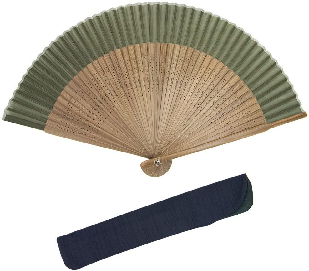 KYOETSU Japanese Sensu Folding Fan Brown Ribs Silk (Brown-4)