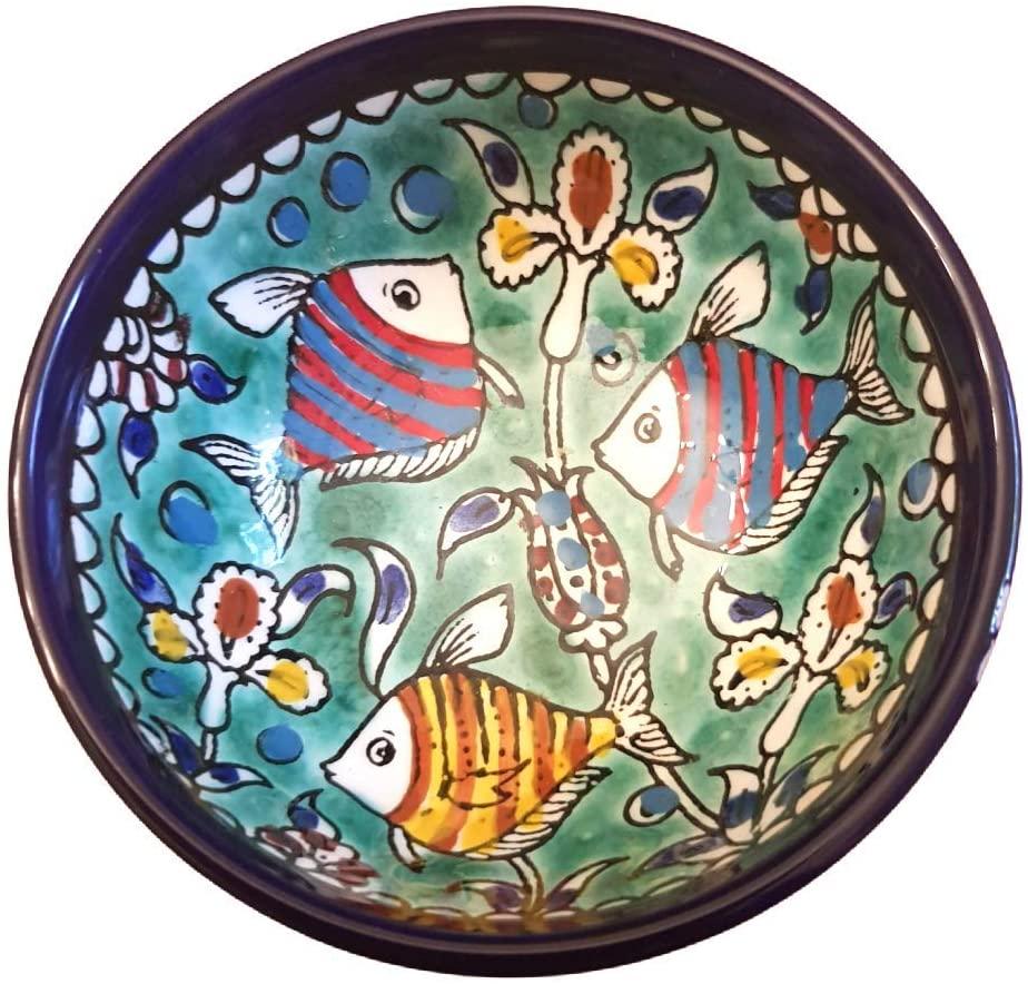 Bluenoemi Gifts Israel Gift Armenian Ceramic Bowl Home Decoration Nature View Turquqoise Blue