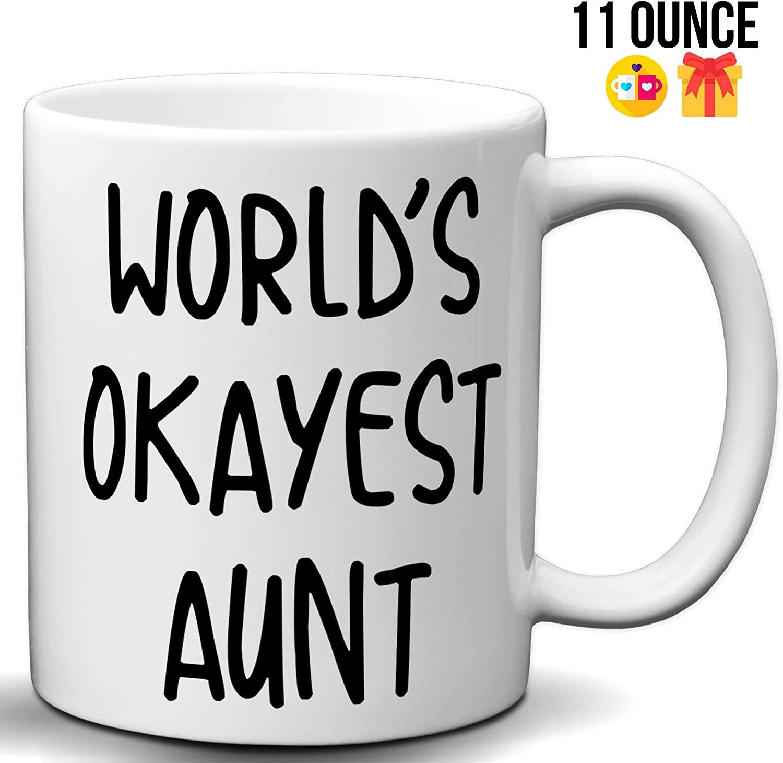 World's Okayest Aunt Funny Coffee Mug Choice of 11 or 15 Ounce or Color Changing Coffee Tea Cup Mug   Amazing Mug Gift for Aunts (11 Ounce White Mug)