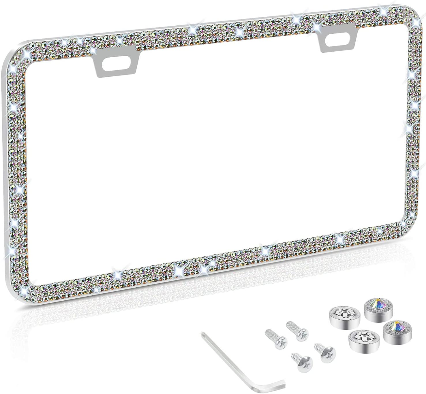 Bling Rhinestone License Plate Frame for Women, Stainless Steel Thin Border Multicolor Diamond License Plate Frames with Anti Theft Screw Caps