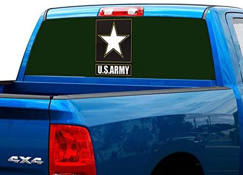 P483 US Army Tint Rear Window Decal Wrap Graphic Perforated See Through Universal Size 65