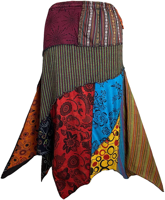 Agan Traders 408 SK Womens Gypsy Tribal Boho Cotton Asymmetrical Patch Skirt