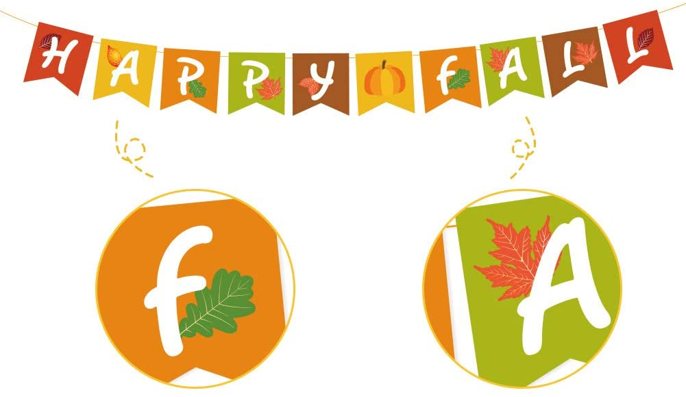 KKBES Happy Fall Banner Thanksgiving Fall Pumpkin Banner Thankful Paper Banner Fall Harvest Thanksgiving Decorations Happy Thanksgiving Party Decorations Backdrop