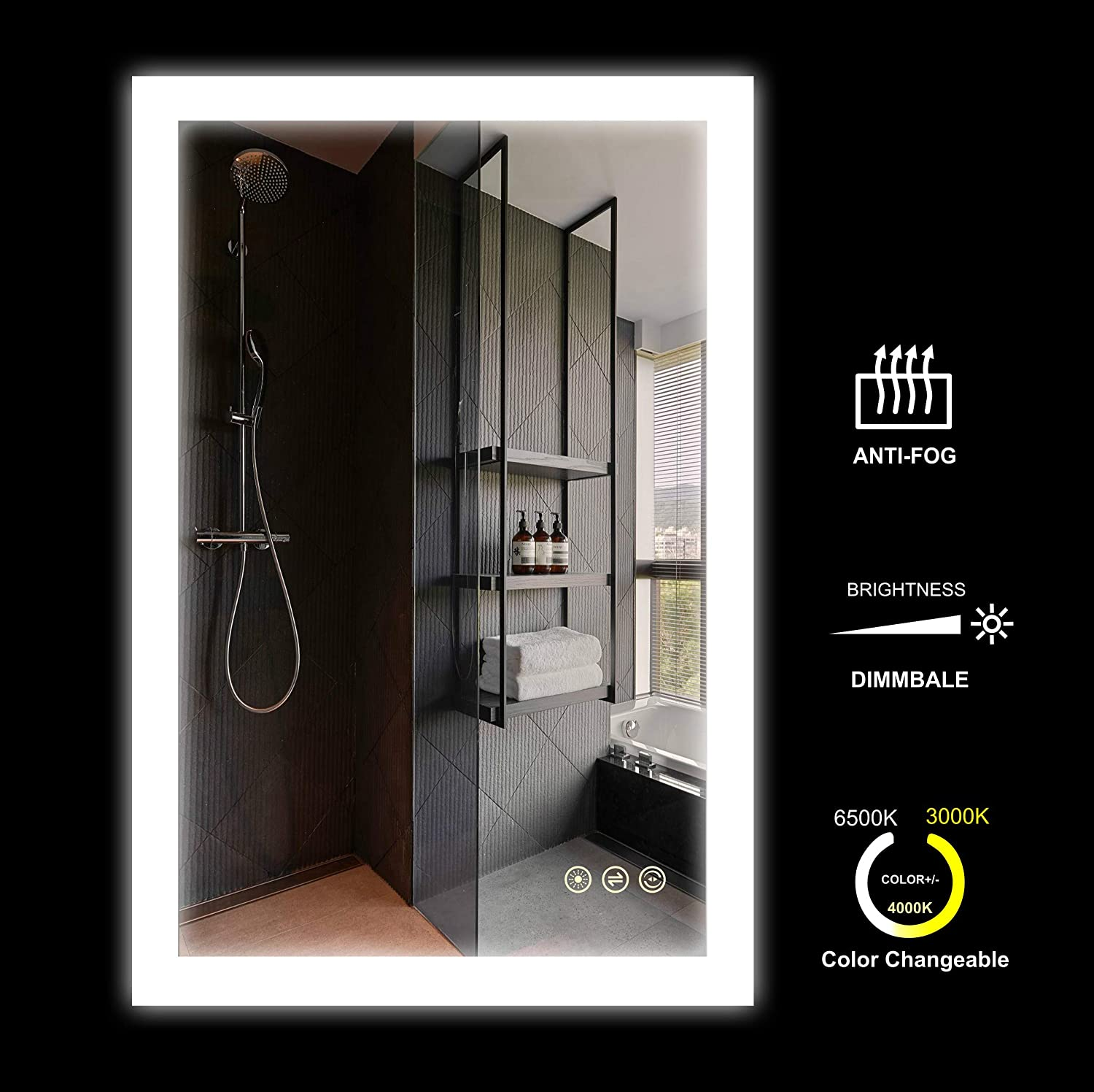 24x36 inch Wall Mounted LED Lighted Bathroom Mirror Dimmer Touch Switch +Anti Fog +IP44 Waterproof +3000K Warm White+4000K Neutral White+6500K Cool White +CRI>90 +Vertical and Horizontal Installation