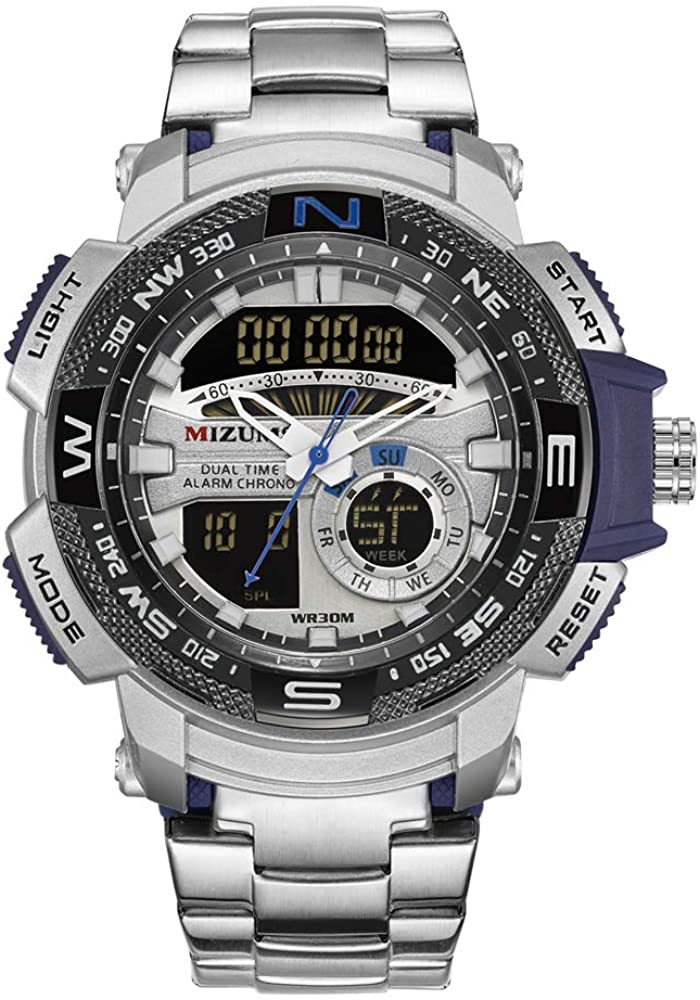 Multi-Function Sports Quartz Watch for Men Waterproof Military Wrist Digital Watches Stainless Steel Band