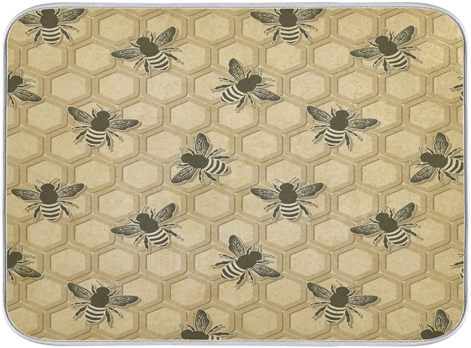Oarenol Vintage Bee Honeycomb Dish Drying Mat Large 18 x 24 Inch Reversible Drying Mat for Kitchen Counter
