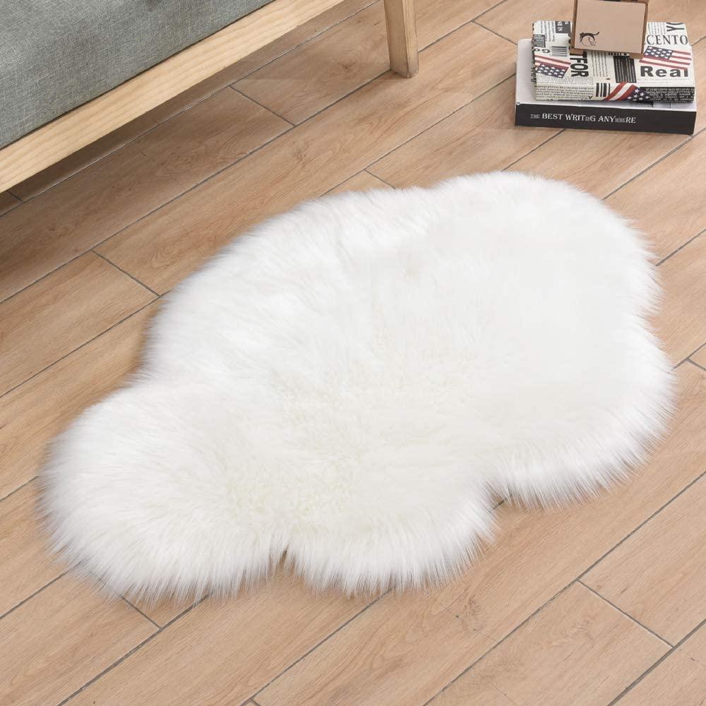 HEBE White Faux Fur Rug 2.3'X3' Cloud Shape Sheepskin Area Rugs Soft Long Plush Fluffy Rug Shaggy Carpet Rug for Nursery Kids Girls Room