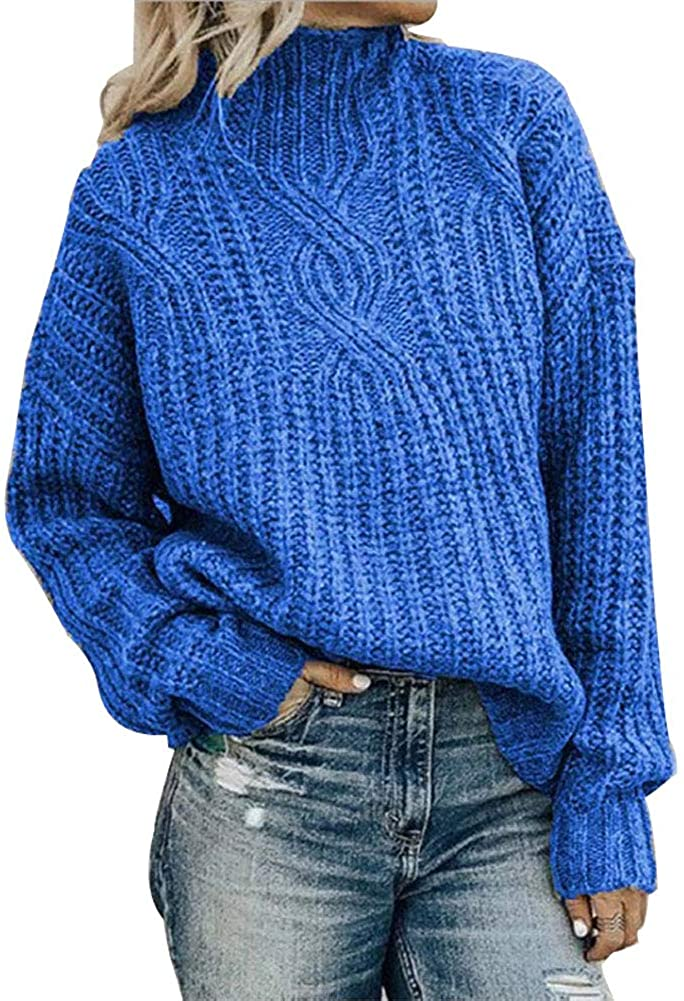 TOJONOZO Womens Turtleneck Pullover Sweater Casual Loose Long Sleeve Twist Knit Jumper Tops