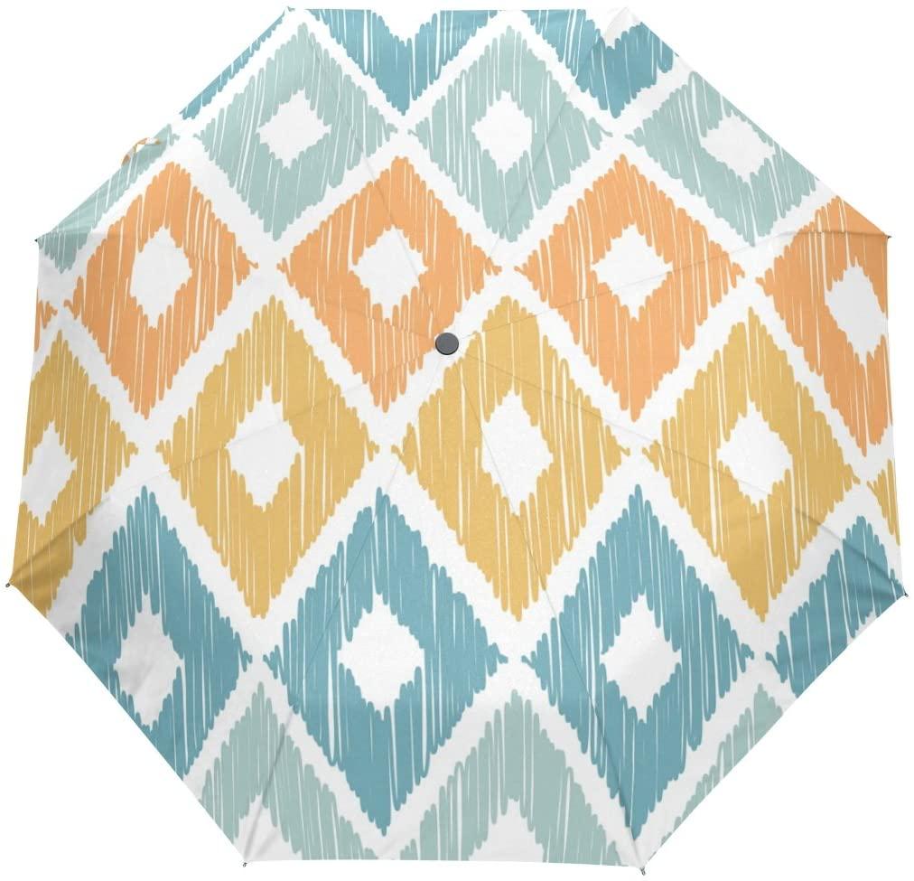 DOENR Compact Travel Umbrella Diamond Pattern Sun and Rain Auto Open Close Lightweight Portable Folding Umbrella