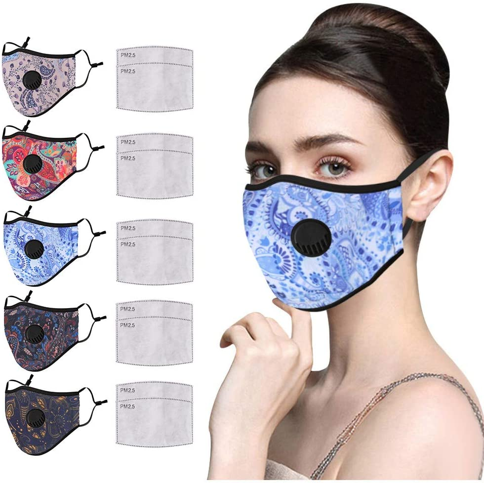 5PCS Women Reusable Washable Cotton Face_mask with Breathing Valve + 10 Pcs Filters, Dheva【USA in Stock 】Girls Face Mouth Bandanas,Outdoor Anti-Haze Dust Floral Face Protection for Teen