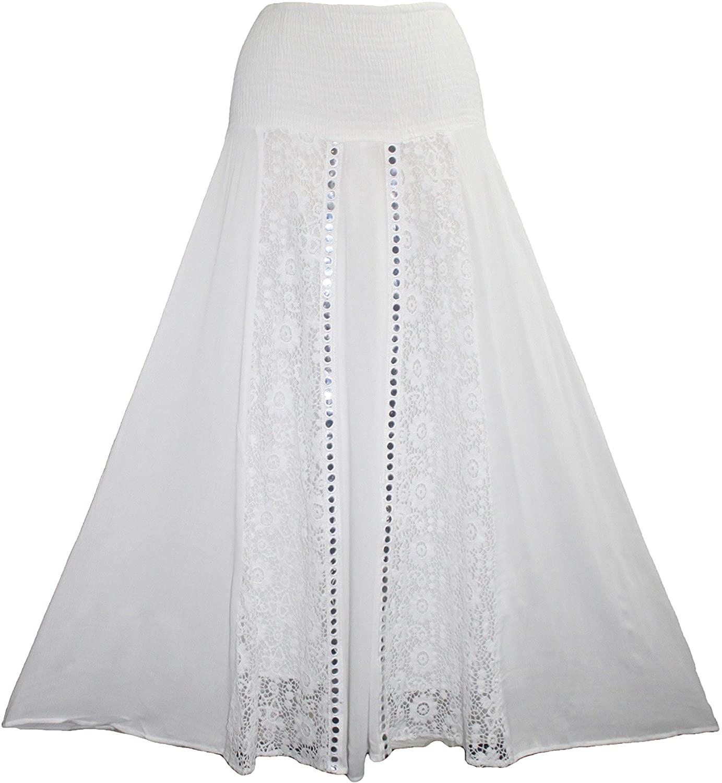 Agan Traders 3706 SK Rayon Crape Smocked Elastic Waist-Band Bohemian Medieval Peasant Gypsy Long Skirt
