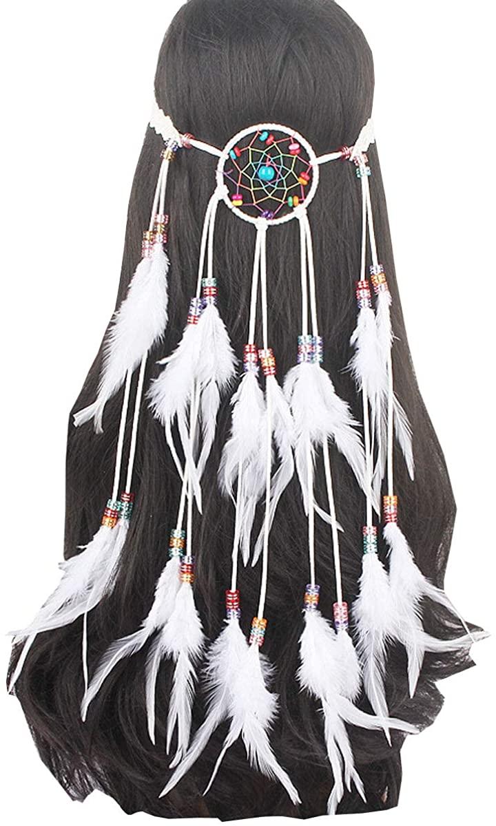 Sheliky Feather Fascinator Headband Bohemian Tassels Hair Band Headwear for Women Girls