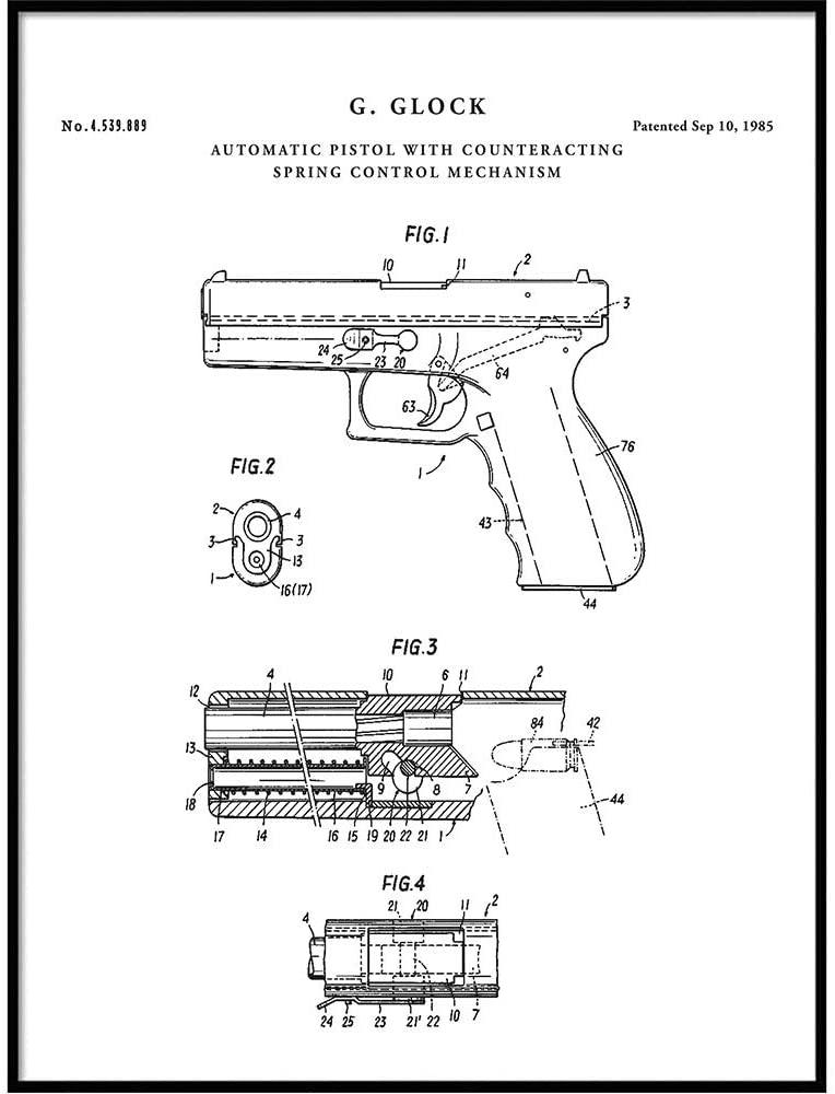 Glock Patent Print Art 1985, Sidearm Gun, Cop Gift, Glock 19, Shooting Range, Police, QP373