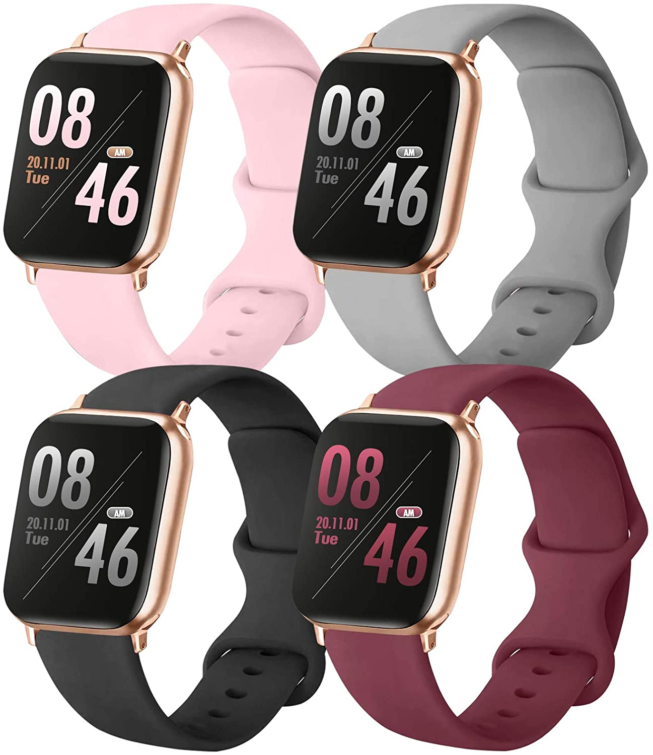Brigtlaiff Pack 4 Compatible with Apple Watch Band 38mm 40mm 42mm 44mm, Soft Silicone Replacement Band for iWatch Series SE/6/5/4/3/2/1 (PinkSand/Gray/Black/WineRed, 38mm/40mm-S/M)