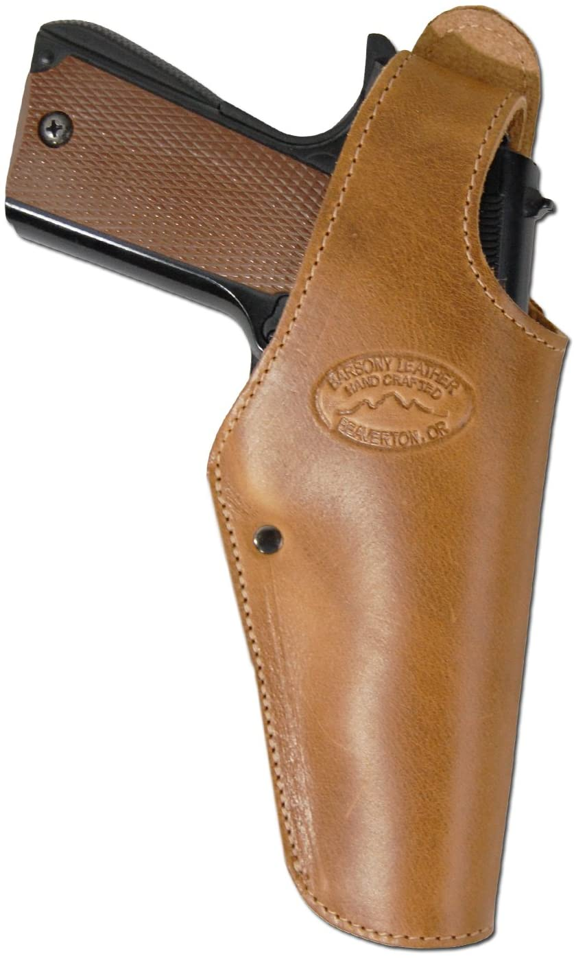 Barsony New Tan Leather OWB Belt Clip Holster for Full Size 9mm 40 45