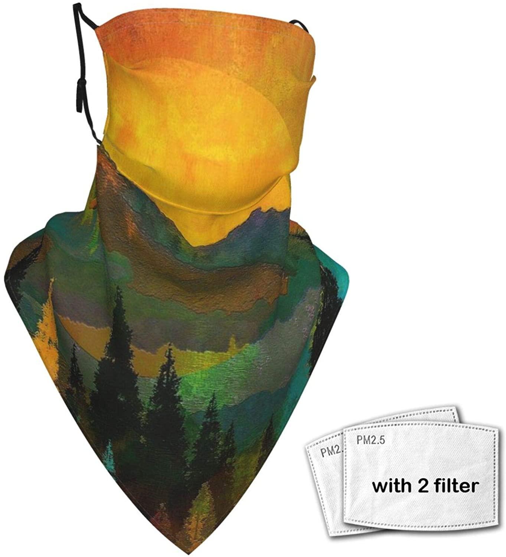 Face Bandana Mask Trees Sunrise Reusable Sun Scarf Washable Headwear Ear Loops Neck Gaiter For Men Women (2 Filters)
