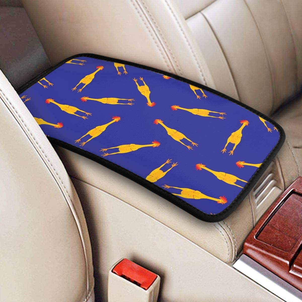 Wolla-ST Funny Rubber Chicken Pattern Auto Center Console Armrest Cover Pad Car Armrest Cushion Vehicle Universal Fit Soft Comfort Center Console Cover Handrail Box Decoration Cushion