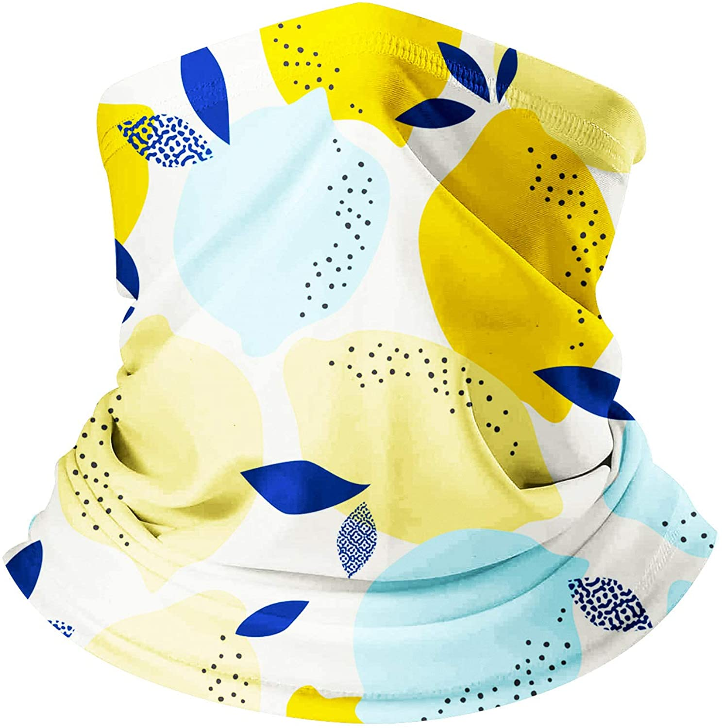 PTHAHNIL Lemon Print Neck Gaiter Face Scarf Cover Mask Dust Sun Protection Summer Hiking Cycling Riding