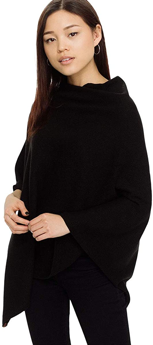 Pudus Women's Soft Faux Cashmere Poncho Sweater - Use as a Coat, Cape, Shawl, Travel Wrap, or Blanket Poncho