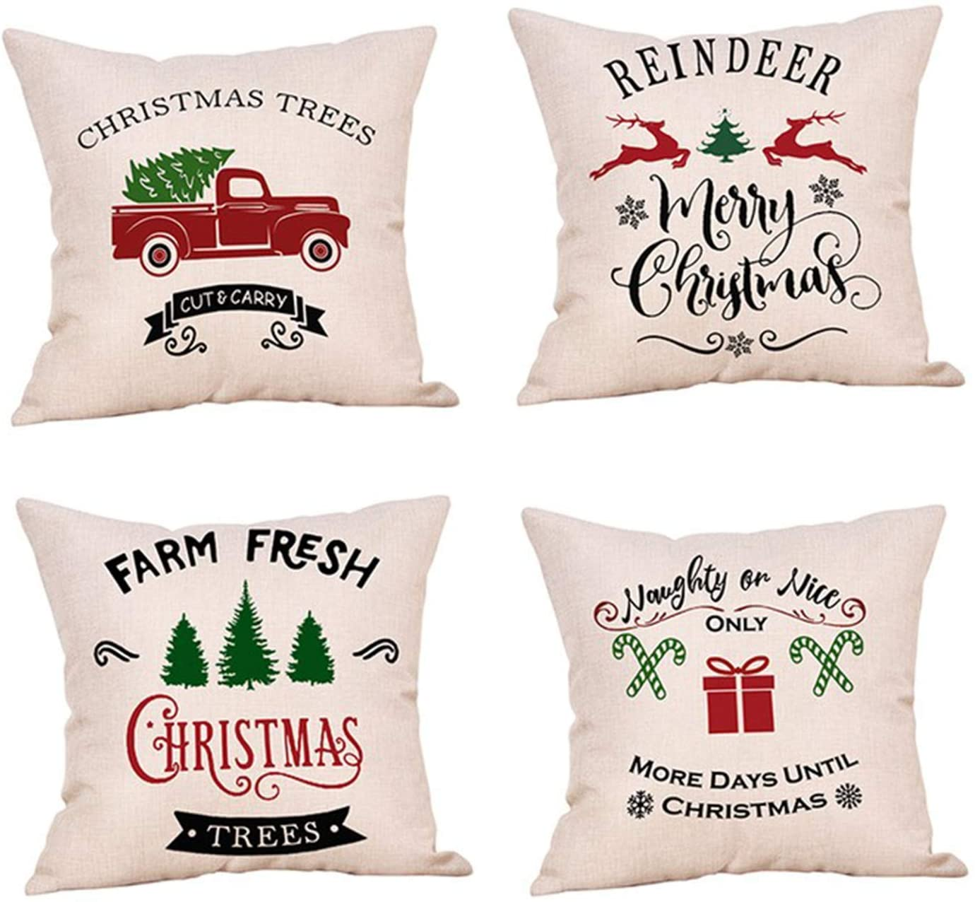MOLECOLE Christmas Throw Pillow Cover, 18 x 18 Inch Farmhouse Decorations Winter Holiday Rustic Linen Cushion Case Christmas Pillows Christmas Decorations Set of 4